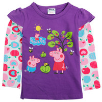 Wholesale Nova m y cute baby girls clothes kids cartoon clothing hot peppa pig printing cottong long sleeve T shirts spring autumn tops tees