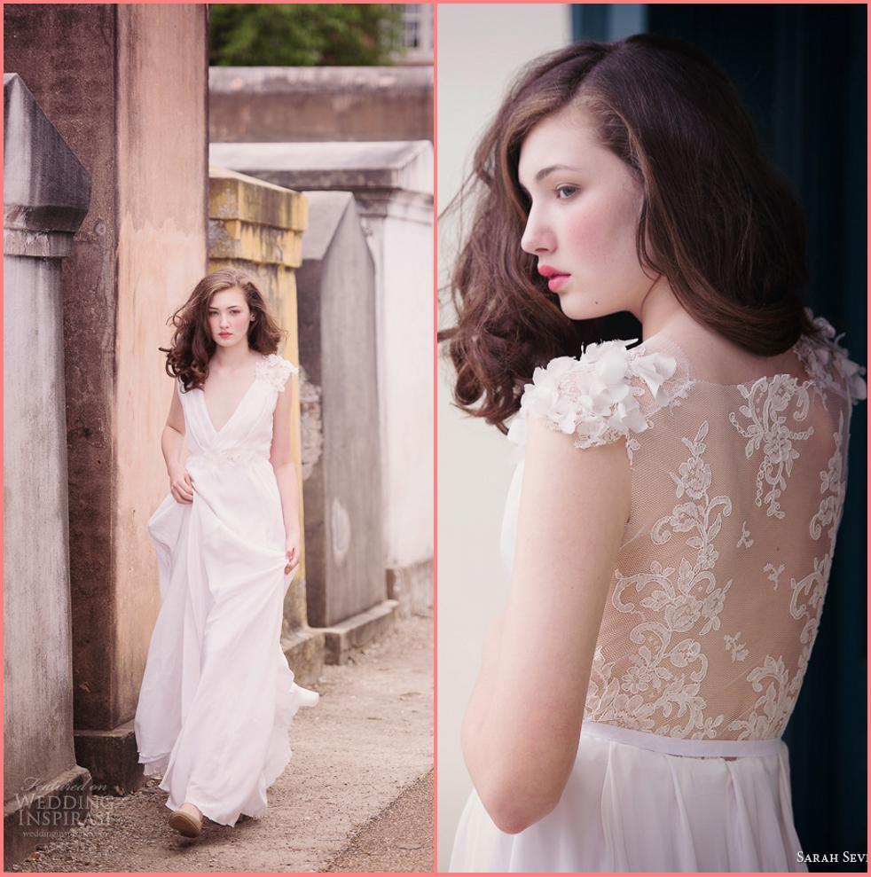 New 2014 Wedding Dresses Sarah Seven White Deep V Sheer Lace Back