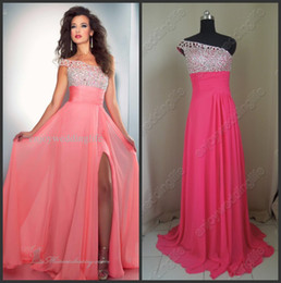 Wholesale 2013 New One Shoulder Chiffon Watermelon Prom Dress Beaded Ruffles Crystals Evening Gown a