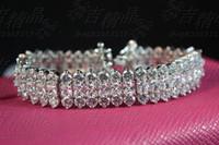 Charm Bracelets South American Women's Wedding jewelry,Korean pop princess luxury bangle bracelet three rows of A grade CZ diamond bracelet wide white gold plating