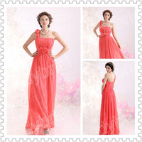 2014 Glamorous One- Shoulder Bridesmaid Dresses With Flower A...