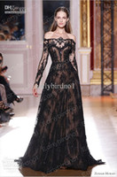 Reference Images Jewel/Bateau Lace 2014 Sexy Zuhair Murad Dresses Long Sleeves Off Shoulder Lace Black A Line Floor Length Vintage Sheer Glitz Formal Evening Prom Gowns