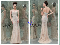 Wholesale Spring Sexy Evening Dresses Sheath Sweetheart Sweep Prom dresses Front High Slit Tulle Pageant Dresses with Beading