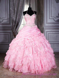 Wholesale 2014 Newest Arrival Halter Ball Gown Applique Ruffle Satin Many Layers Quinceanera Dresses Crystal Beaded Decent Prom Party Dresses