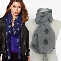 Wholesale Europe punk style owl printed cm cotton voile scarf shawls Pashmina muffler t5816