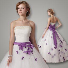 Wholesale Vestidos de Novia Wedding Dresses White Strapless Ball Gown Floor Length Dress Bow Ribbon Beaded Pearls Purple Butterfly Bridal Gowns