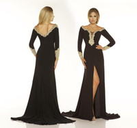 Wholesale Designer Sexy Black Scoop Front Split Crystal Long Sleeves Evening Dresses Prom Party Gowns