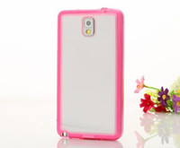 For Samsung Clear  Transparent Clear Case TPU Back Cover w Anti-Dust Plug Colorful Sides for Samsung Galaxy Note3 N9000