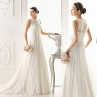 A-Line Model Pictures Jewel A Line Chiffon Wedding Dresses Sheer Crew Neckline with Handmade Flower 2014 Aire barcelona Bridal Gown 1117