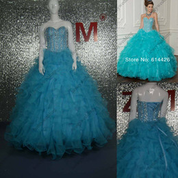 Wholesale In Stock Beading Sweetheart floor length prom dress ball gown Quinceanera Dresses get pair petticoat for free