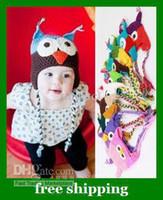 Wholesale Toddler Owl EarFlap Crochet Hat Baby Handmade Crochet Hats Handmade Knitted caps gifts