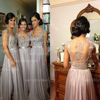 Wholesale 2014 Hot Selling Bridesmaid Dresses Sexy V Neck Applique Beaded Chiffon Back Sheer A Line Summer Beach Christmas Prom Evening Gowns BO2673