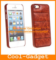 Wholesale Deluxe Sofa Leather Skin Hard Plastic Case Back Phone Cover Shell for iPhone S G iPhone5 IP5SC06