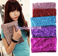 Wholesale Fashion Lady Sparkling Sequins Dazzling Clutch Evening Party Bag Handbag Bling Purse Colors