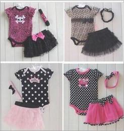 Wholesale Toddler girls set Dots Leopard Romper body suit Ruffles TUTU