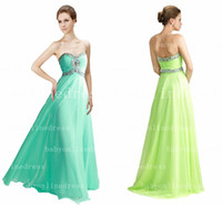 Wholesale Babyonline Hot Selling Long Prom Dresses Sweetheart Sequins Beaded Pleated Chiffon A Line Backless Evening Gowns Bridesmaid Dresses