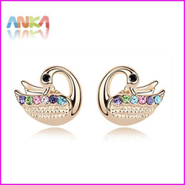Free Shipping Christmas Gifts Wholesale High Quality Swan Pierced Earrings Crystal Stud Made With Swarovski Elements#95304