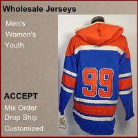 Wholesale Discount New Style Hoody Wayne Gretzky blue Ice Hockey Fleece Sweater Jerseys Sweatshirts Hockey Hoodies Top Quality