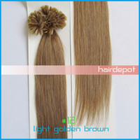 Wholesale free UPS quot Nail Tip Hair Extension Keratin light golden brown g s Remy silky Straight Human Hair Extensions Mix