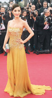 Reference Images Strapless Chiffon 2014 Elie Saab Gold Sequined Prom Dresses Evening Party Formal Celebtiry Red Carpet Dresses Strapless Sheath Floor Length Sleeveless Chiffon