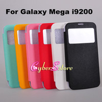 For Samsung Leather  Battery Back Leather Case S View Smart Cover Screen Window Wallet Flip Case For Samsung Galaxy Mega 6.3 i9200,With Sleep Wake up function