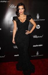 Wholesale Kim Kardashian Golden Globes Awards Celebrity Dress Sexy Lace Evening Dresses Red Carpet Dress