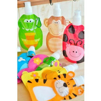 Wholesale 400ml Eco Friendly Foldable Cartoon Animal Water Bag Travel Drink Bottle Safe for Kids Children Gift SH228