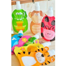 Wholesale 200ml Eco Friendly Foldable Cartoon Animal Water Bag Travel Drink Bottle Safe for Kids Children Gift SH228