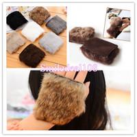 Wholesale Women Winter Soft Warm Fingerless Gloves Faux Wool Fleece Fur Palm Wrist Gloves Mitten Colors
