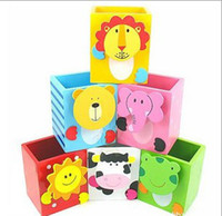 Wholesale Animal Pen Pencil Ruler Eraser Holder Storage Box Memo Sticky Keeper Wood Cartoon Pencils Desktop Cute Wooden Boxes Stationery D1246