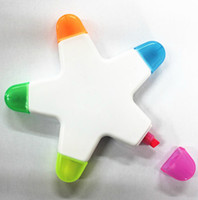 Wholesale Free Ship Star Shape colors Highlighter Pen Luminous Pens Flower Petals Pen ASSORTED COLORS Christmas Gift