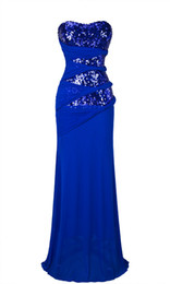 Wholesale 2016 New Arrival Angel Fashions Sea Blue Sexy Sequins Mesh Skirt Long Split Prom gown Evening Dresses
