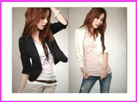 Jackets Women Cotton 2014 New Women's Sexy Black White One Button Small Suit Jacket Coat Blazer Women S- XXXL Plus size Free shipping