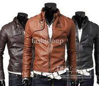 Jackets Men Leather_Like New Fashion Men Slim Short Jacket Casual Jacket Collar Men PU Leather Machine Wagon Jacket SF08-59