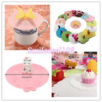 silicone cup lid - Coffee Mug Lid Cap Silicone Cup Cover Cartoon Sealed Anti dust Mixed Styles