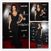 Reference Images V-Neck Lace 2014 New Fashion Kim Kardashian Sexiest Black Lace Celebrity Dress 2014 Short Cap Sleeves Long Mermaid Evening Dress