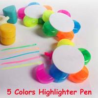 Wholesale Free Ship Five Leaf Flower Shape colors Highlighter Pen Luminous Pens Flower Petals Pen ASSORTED COLORS Christmas Gift