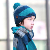 Wholesale Best Quality Winter Baby Beanie Hats Stripe Knitted Wool Children Caps Scarf Set Kids Hat Boys Girls Cap QZ332