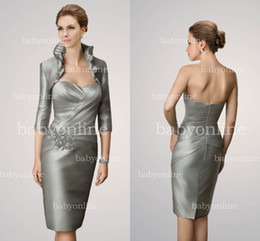 Wholesale Hot Selling Silver Sweetheart Applique Pleated Satin Mini Short Sheath Mother Of The Bride Dresses Cheap Long Sleeves Jacket Bolero DH00079