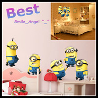 Wholesale Kids Room Decorative Wall Decal Despicable Me Minion Movie Removable Wall Sticker Home Decor Art Kids Nursery Cartoon Cute Wall Decorations