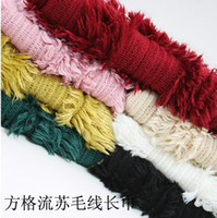 Wholesale DHL EMS acrylic yarn long wool Scarves woven scarf long tassel wool square scarf can mix