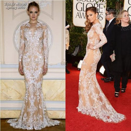 Wholesale Zuhair Murad Hot Sale Lace Long Mermaid Long Sleeves the th Annual Golden Globe Awards Prom Formal Evening Gowns Celebrity Dresses
