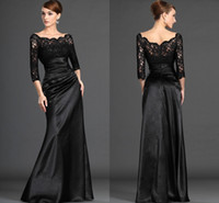 Wholesale Long Sleeve Black Lace Sheer Neck Evening Dresses Plus Size Ruffles Mother Dress A Line Mother of the Bride Dresses EB215