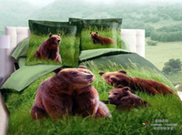 bear paintings - Hot Sale Fashion personality active green d paintings bear cotton export bedding Little bear Pieces Duvet Cover Sets Bedding