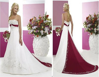 white and burgundy sweetheart wedding dresses bridal gown wi...