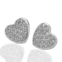 Wholesale k white Gold Swarovski crystal heart earrings studs k gold earrings stud fashion heart stud
