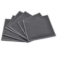 other leather coaster - Black leather coaster set cup pad heat insulation pad table mat bowl pad
