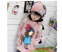 Wholesale Cotton winter thick velvet bow pink yellow sweater girls hooded sweater Children s Hoodies Sweatshirts Fedex
