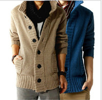Wholesale 2016 New men s real cashmere wool cardigan woollen sweater coat overcoat with pocket color M XL M3