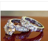 Couple Rings moissanite ring - 1 CT MOISSANITE ROUND SOLITAIRE SEMI ETERNITY RING